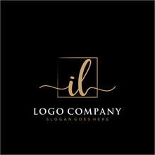 IL Initial Handwriting Logo Vector
