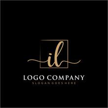 IL Initial Handwriting Logo Vector