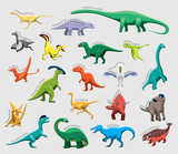 Fototapeta Dino - Dinosaur Set Various Kind Identify Cartoon Vector