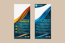 Collection Of Vertical Banner With Gradient Orange And Blue Roll Up Banner Template Vector, Wave Curve Background, Advertisement, Display, Flyer. Space For Photo On Top. Blue Background Pattern.