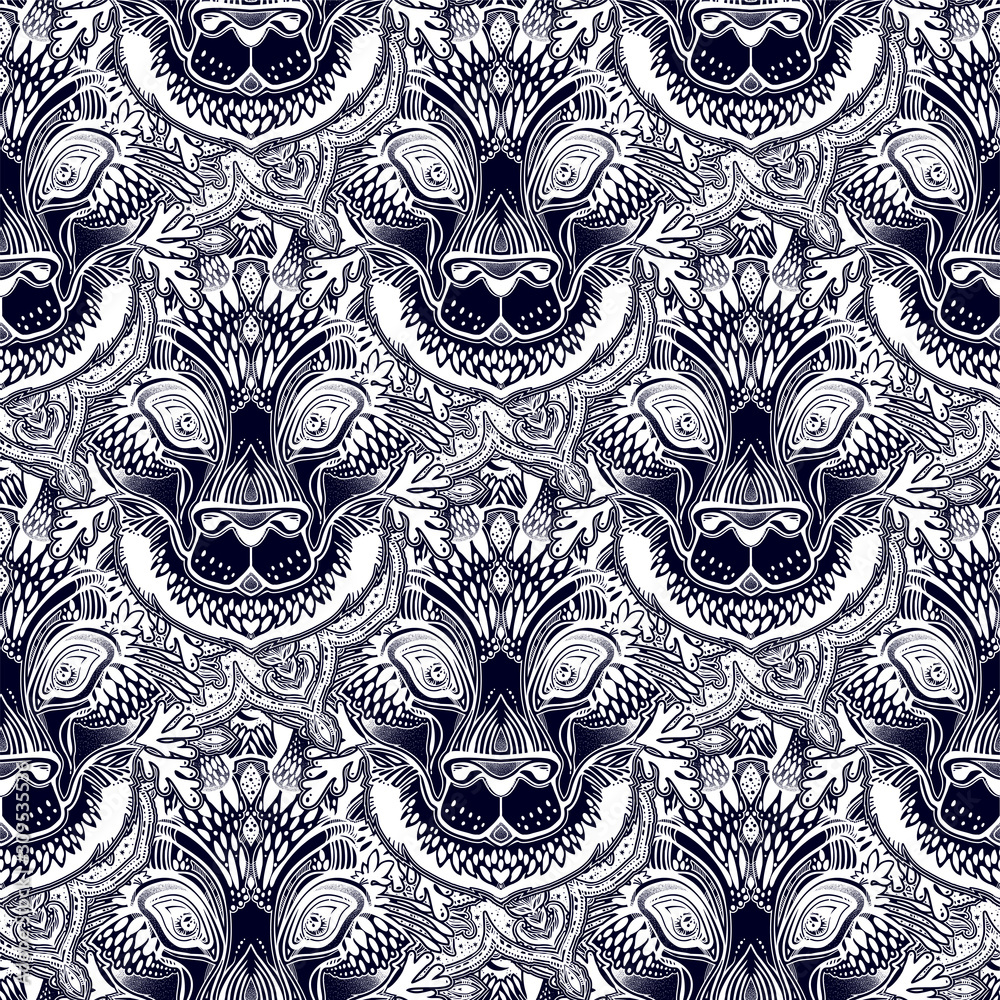 Folk magic ornate hare beast seamless pattern.