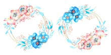 2 Geometric Frame With Blue An...