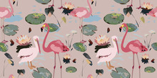 Water Lilies, Flamingo, Pelican On A Beige Background. Leaves In The Pond, Flowers, Seamless Pattern, Pink Delicate Colors, Vintage Vector Illustration. Swamp, Marsh, Bog. Tropic Exotic Birds