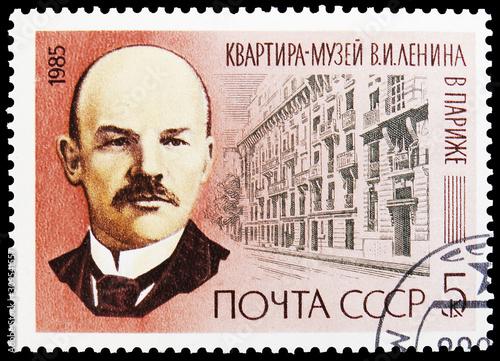 Tela  Portrait of Lenin and Museum of Lenin in Paris, 115th Birth Anniversary of V