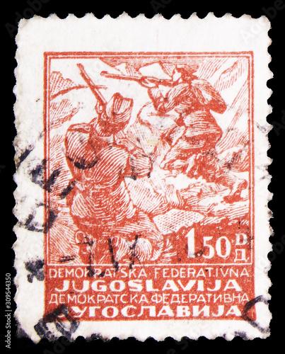 Tela  Postage stamp printed in Yugoslavia shows Fighting Partisans, Partisan motifs se