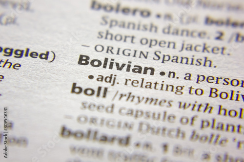Word or phrase Bolivian in a dictionary. Canvas Print