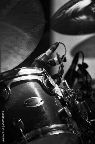 Live music vertical photo with drum set. Retro stylized Fototapet