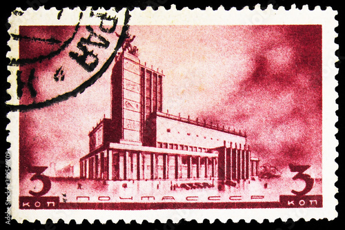 Postage stamp printed in Soviet Union (Russia) shows Theatre at the Maykovsky sq Canvas-taulu