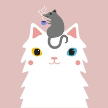Vector Illustration With Grey Rat Holding Hot Coffee Cup And White Colored Eyes Cat.