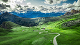 Winding road in Passo Giau and green Dolomites, aerial view