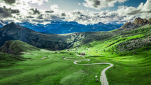 Winding Road In Passo Giau And...