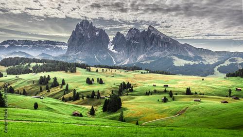 Photo Green hills in Alpe di Siusi at sunrise, Dolomites