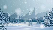 Winter Landscape With Snow-covered Pines, High Mountains On The Horizon, Pine Forest And Snowstorm. Winter Background For Your Arts
