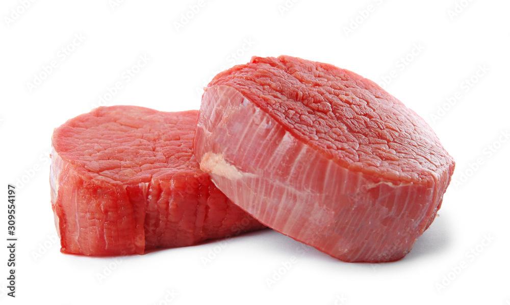 Fototapeta Fresh raw beef cut isolated on white