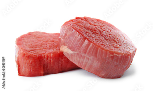 Fresh raw beef cut isolated on white Billede på lærred