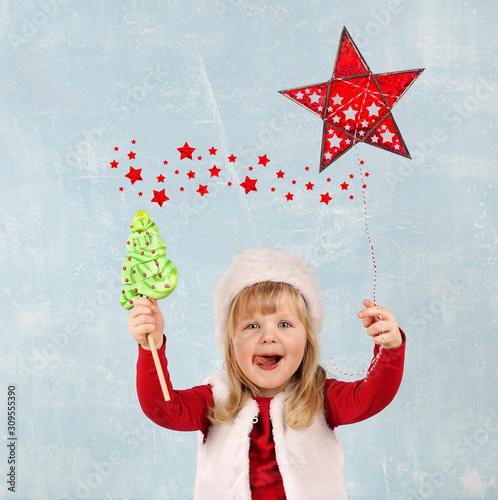 leckeren Lolli essen - Weihnachtsbaum Wallpaper Mural