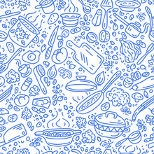 Food Vector Background. Cooking Seamless Vector Pattern. Vegetables, Pots, Spoons, Spices.