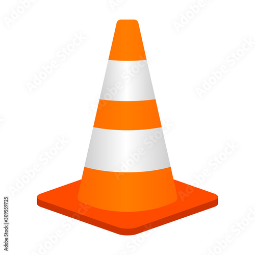Traffic cone or road pylon flat vector color icon for apps and websites Canvas-taulu
