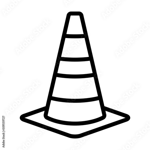 Stampa su Tela Traffic cone or road pylon line art vector icon for apps and websites