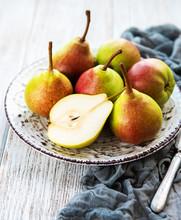 Fresh Pears On A Table