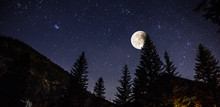 Starry Sky And Full Moon Over ...
