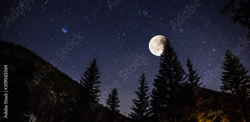 Starry sky and full moon over the Alps, Italy Canvas Print