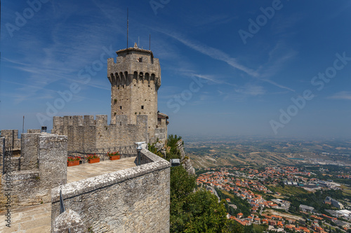 SAN MARINO / SAN MARINO - JULY 2015: View point on Inner walls of one of San Marino castles, good for tourists