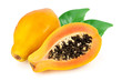canvas print picture - ripe cut papaya isolated on a white background