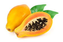 Ripe Cut Papaya Isolated On A White Background