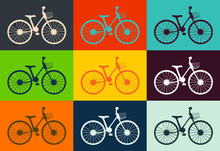 Bicycle Icon Design Flat Isolated. Bike And White Bycicle