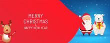 Santa Claus With Huge Red Bag Of Gifts On Snowy Background Stands With A Polar Bear. Merry Christmas And Happy New Year Poster, Banner Or New Year Card.