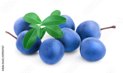 Valokuvatapetti Blackthorn or Sloe berries with leaves isolated on white background