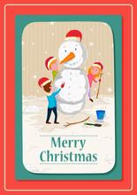 Kids Making Snowman With Santa...