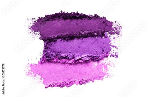 Photographie Crushed eyeshadow makeup set isolated on white background