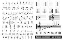 Set Of Musical Annotations Or Music Note Elements Concept. Easy To Modify