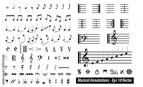 set of musical annotations or music note elements concept Canvas Print