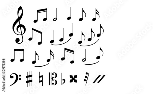 set of musical annotations or music note elements concept Wallpaper Mural