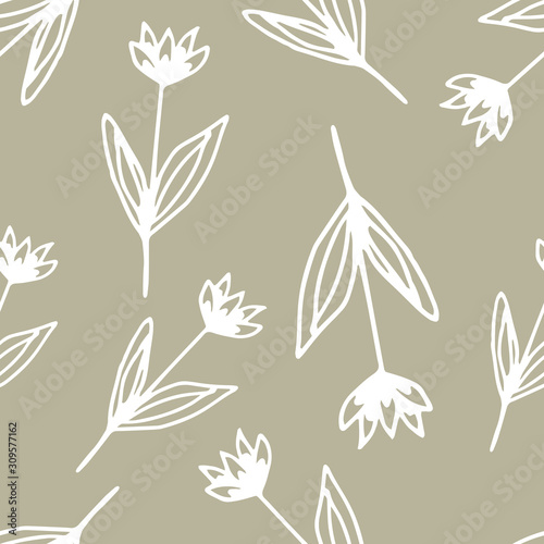 Floral seamless pattern in line art style.  Abstract botanical print of flowers, leaves, twigs. Textile design texture. Spring blossom background. Vector illustration.