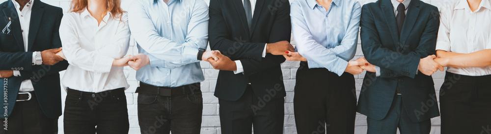 Fototapeta Business team holding hands, standing in row