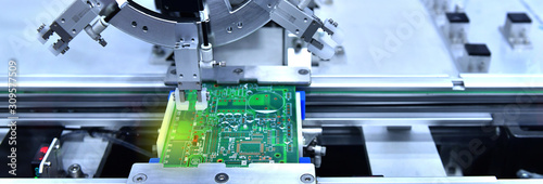 Technological process of soldering and assembly chip components on pcb board Fototapete