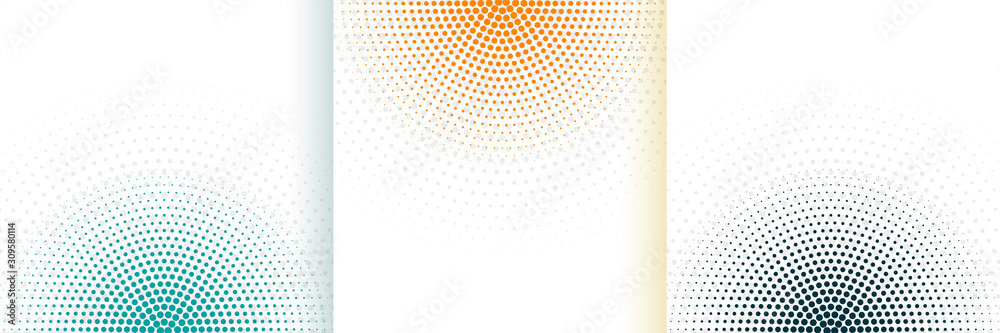 Fototapeta abstract halftone white background set in three colors