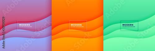 abstract minimal wave papercut background set design - fototapety na wymiar