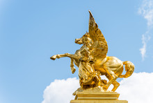 Golden Pegasus Statue At The P...