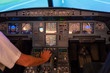 Airplane buttons in the cockpit simulator