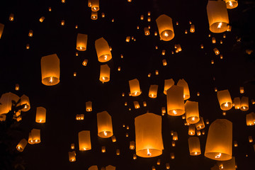 Chiang Mai Floating lantern Festival, Yee Peng Festival in the sky