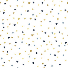 Vector Seamless Pattern With Tiny Golden And Blue Hearts. Creative Scandinavian Childish Background For Valentine's Day
