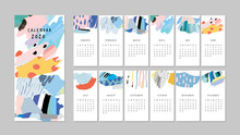 Calendar 2020. Cute Printable Creative Template With Abstract Elements