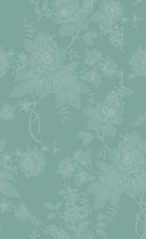 Floral Vintage Seamless Pattern With Flowers Peonies. Oriental Style. Template Design For Textiles, Wrapping Paper, Wallpaper, Clothes, Interior, Curtains, Packaging.