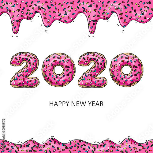 Sweet New Year 2020 from donuts. Donut's pink glaze. Wallpaper Mural