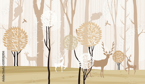 Obrazy do jadalni  3d-mural-wallpaper-trees-in-winter-snow-with-branches-and-flowers-deer-birds-with-flat-modern